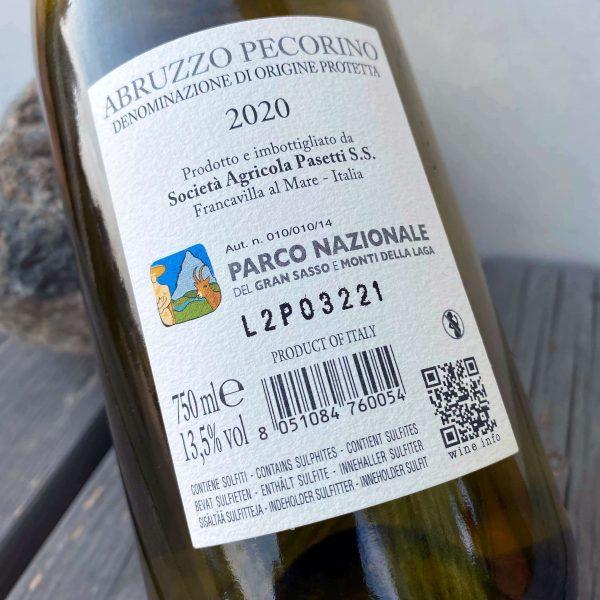 Back label Pecorino 2020